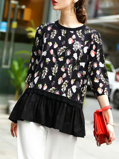 Flowers Print Pleated Blouse