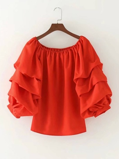 Boat Neckline Layered Sleeve Top
