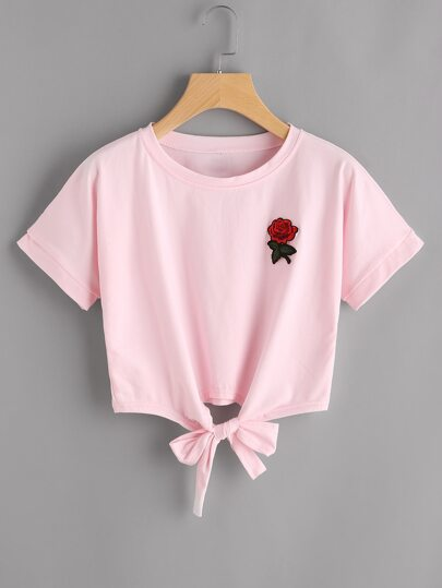 Tee frontale nodo rosa patch