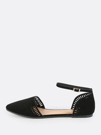 Point Toe Ankle Strap Flats BLACK