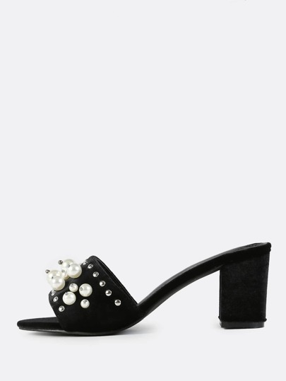 Beaded Pearl Velvet Mules BLACK