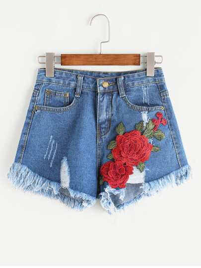 Shorts en denim de borde crudo aplique roto