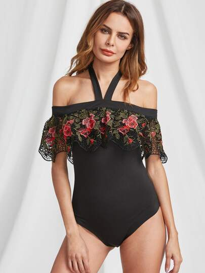 Embroidered Frill Trim Halter Off Shoulder Bodysuit