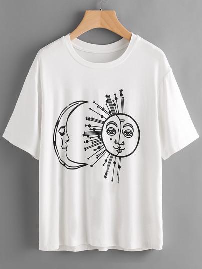 Mandala Moon And Sun Print T-shirt