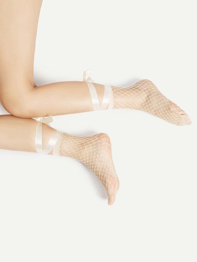 Fishnet Ankle Socks With Ribbon Tie