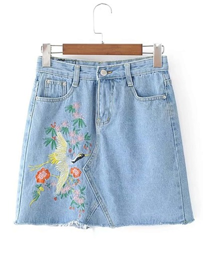 Raw Hem Embroidery Bodycon Denim Skirt