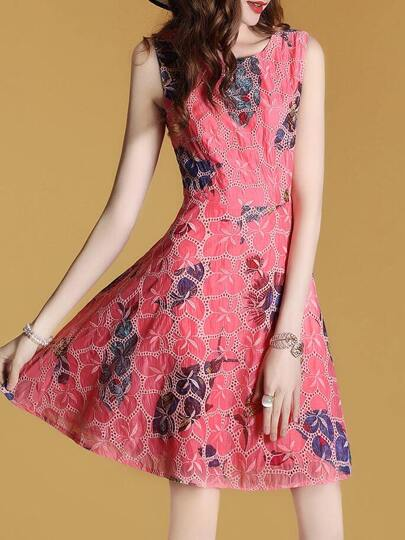 Fishes Print Embroidered Mesh Dress