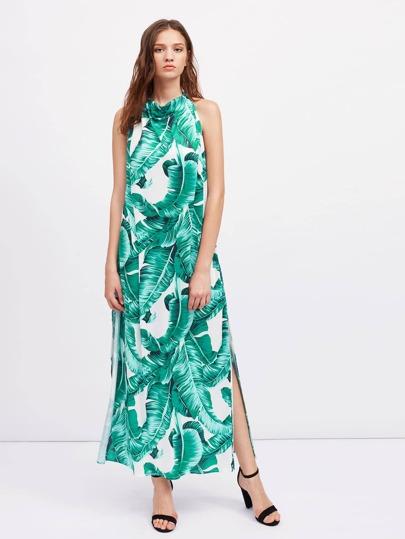 Palm Leaf Print Backless Slit Side Dress