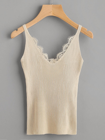 Eyelash Lace Trim Ribbed Cami Top
