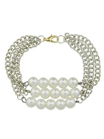 Punk Rock Multilayers Pearl Chunky Chain Bracelets