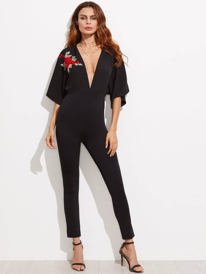 Plunge Embroidery Applique Kimono Sleeve Skinny Jumpsuit