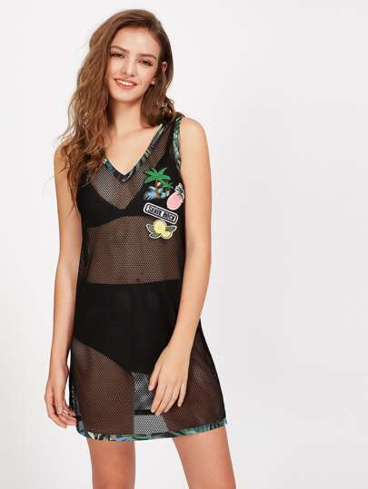 Tropical Binding Embroidered Patch Detail Fishnet Dress