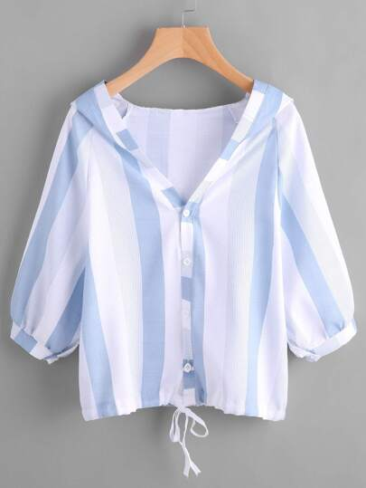 Hooded Striped Tie Hem Blouse