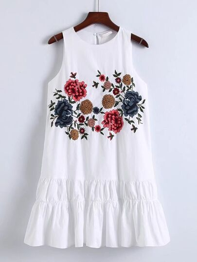 Flower Embroidery Keyhole Back Tiered Dress