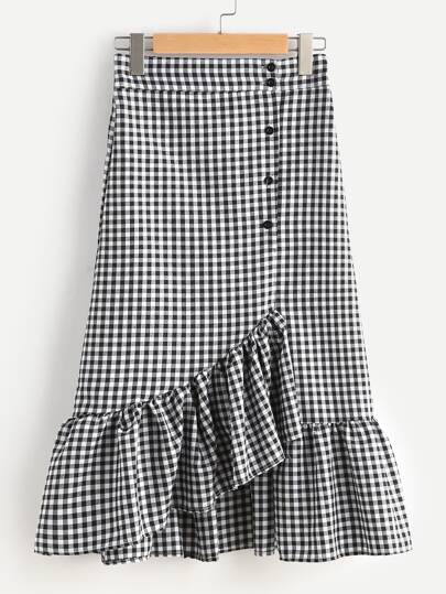 Gingham Layered Frill Hem Skirt
