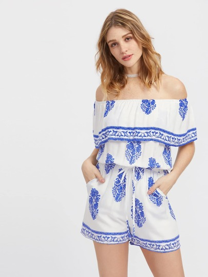 Flounce Layered Neckline Printed Drawstring Romper