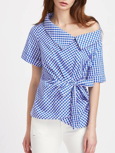 Asymmetric Collar Tie Waist Gingham Blouse