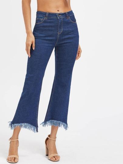 Raw Hem Ankle Flare Jeans