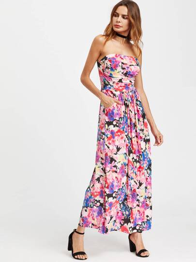 Watercolor Print Bandeau Dress With Pockets
