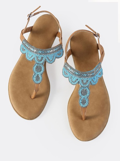 Beaded Thong Sandals TAN