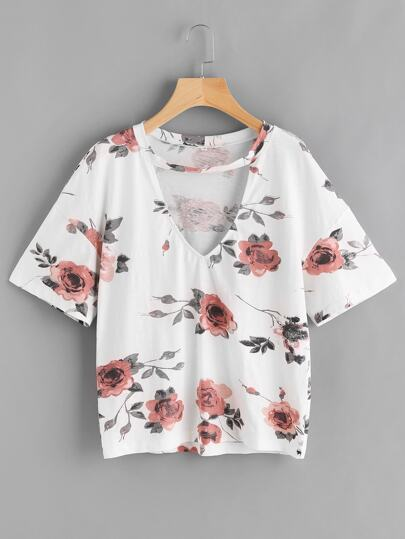 Flower Print Drop Shoulder Choker Neck Tee