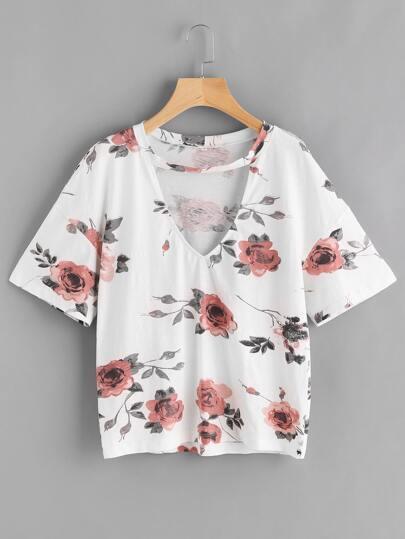 T-shirt con spalle scivolate e stampa di fiore ,con collarino