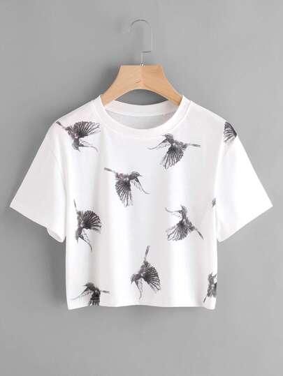 T-shirt con stampa di uccello