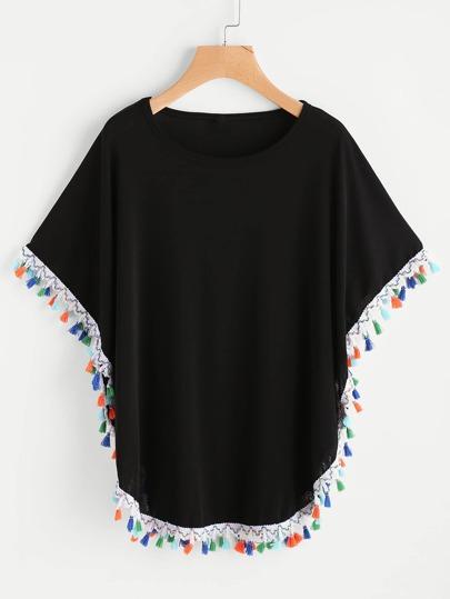 T-Shirt mit Quaste und Fledermausärmeln