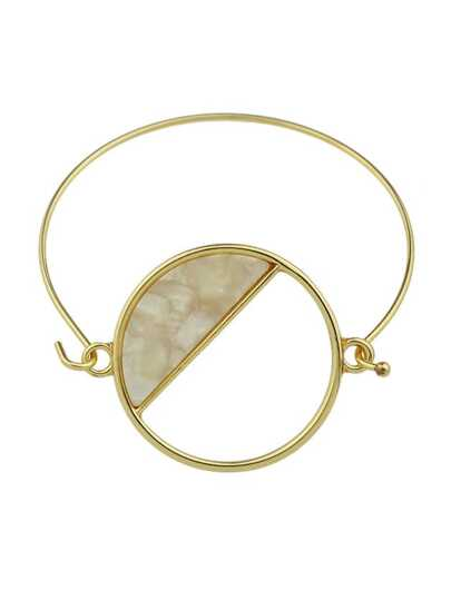 Beige Color Big Acrylic Round Thin Metal Bangles