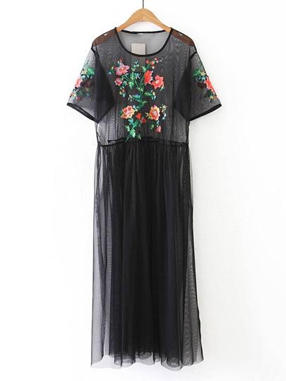 Flower Embroidery Sheer Mesh Dress