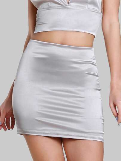 Solid Zip Up Skirt STONE