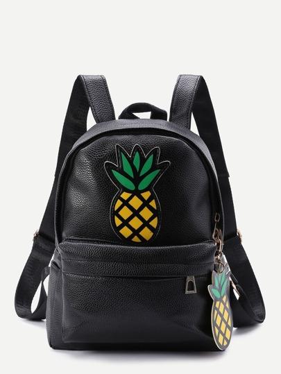 Rucksack mit Ananaspatch und Reißverschluss vorne