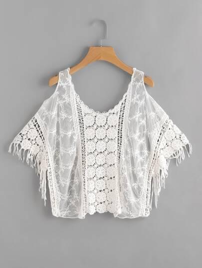 Open Shoulder Hollow Out Crochet Top