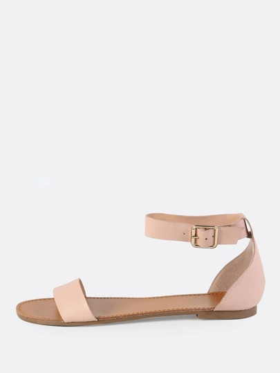 Faux Leather Ankle Strap Sandals BLUSH