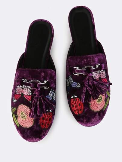 Velvet Tassel Backless Loafers PLUM