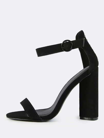 Ankle Strap Triangular Heels BLACK