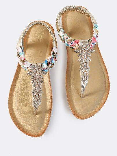Multi Braid Embellished Thong Sandals GOLD