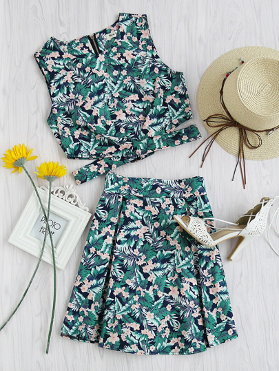 Leaf Floral Print Cut Out Zip Up Back Top With Skirt