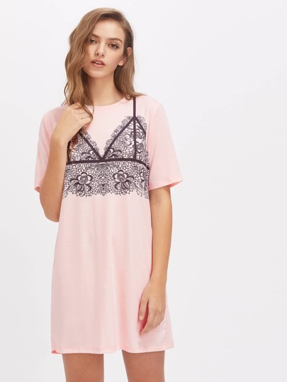 Vestido holgado con encaje en contraste