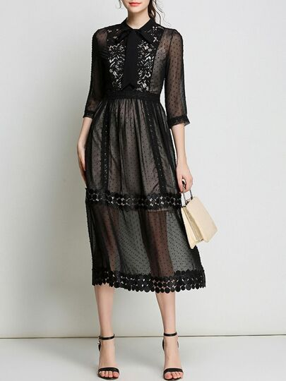 Sheer Contrast Lace A-Line Dress