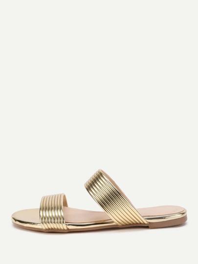 Sandales plate avec lacets métallique