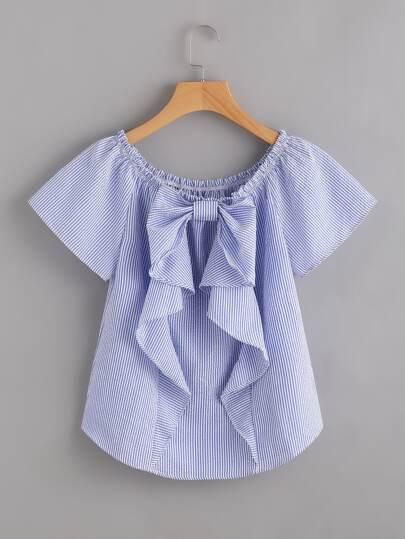 Bluse mit Streifen und Falten