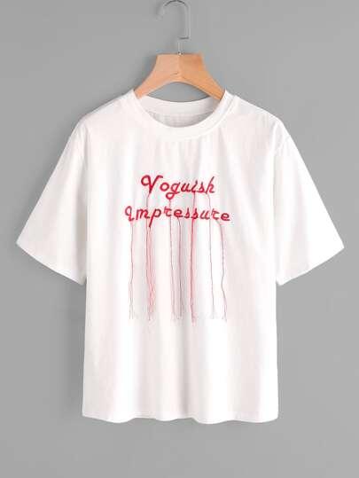 Camiseta de bordado con flecos