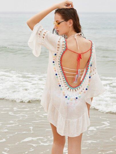 Top crochet asimmetrico bordo posteriore rotondo e volantini - Bianco