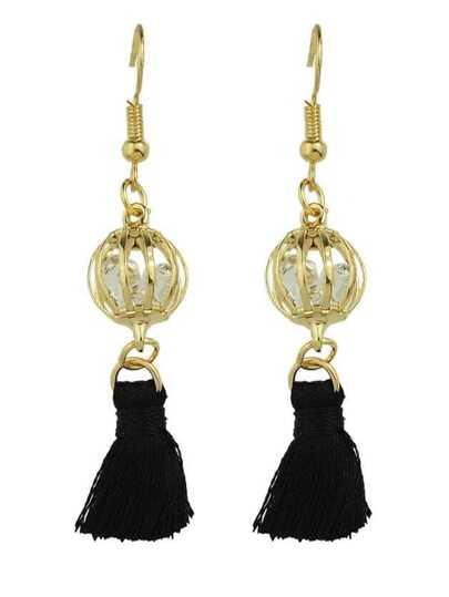 BLack Color Boho Style Rhinestone Thread Tassel Drop Earrings