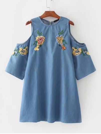 Open Shoulder Flower Embroidered Denim Dress
