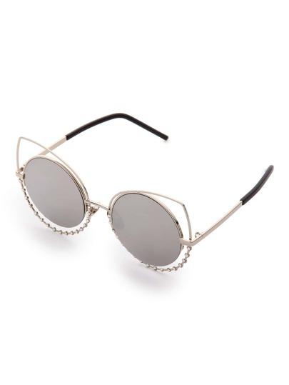 Lunettes solaires yeux de chat rond lentille