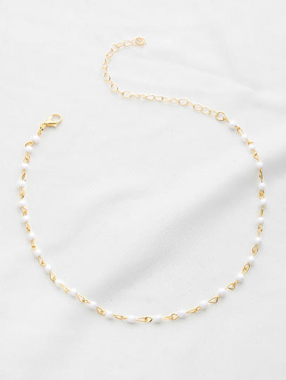 Beaded Design Delicate Chain Choker