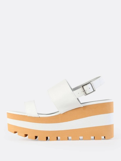 Faux Leather Two Band Sandals WHITE