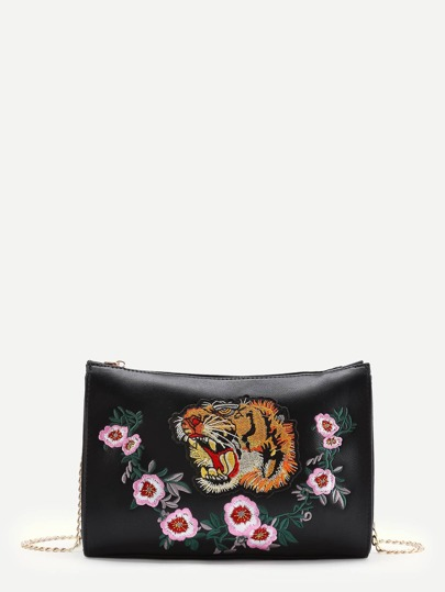 Tiger Embroidery Clutch Bag With Chain